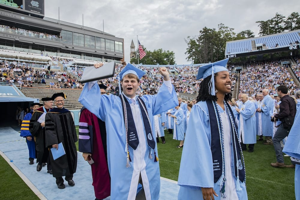 The University of North Carolina at Chapel Hill celebrates the graduation of more than 6,000 students at the annual Spring Commencement on May 12, 2019, at Kenan Memorial Stadium. Interim chancellor Kevin M. Guskiewicz presided over the ceremony. Carolina alumnus Jonathan Reckford delivered the keynote address.
