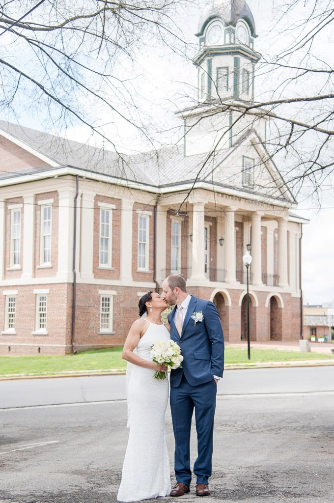 Bride and Groom Intimate Wedding at the Historic Chatham County Courthouse Gunter