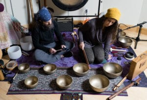 Sound Therapy Healing Practice Meditation Garth and Liz Photo by Cornell Watson